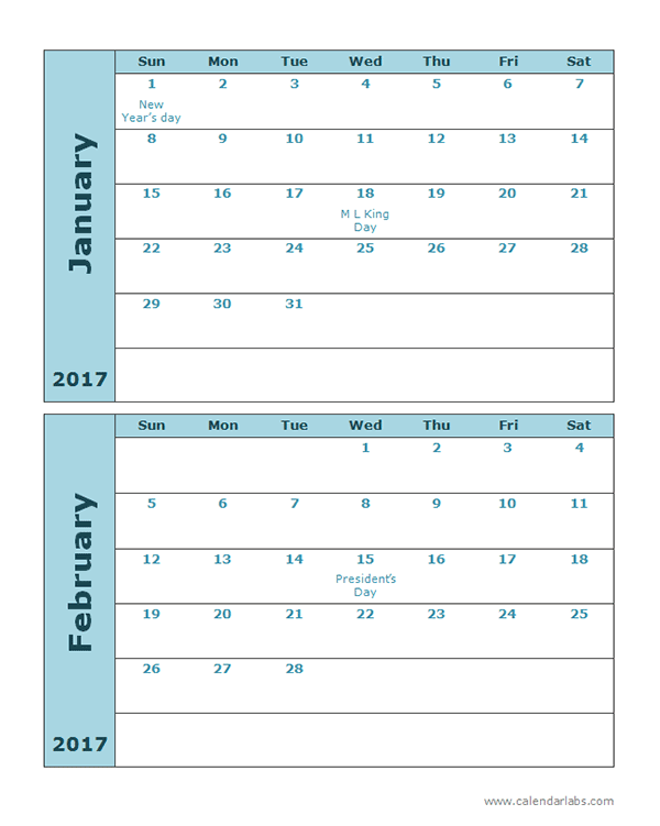 Printable 2016 Calendar Two Months Per Page