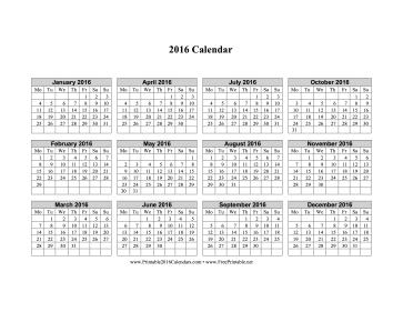 Printable Calendar 2016 Starting Monday Archives 2016 Calendar