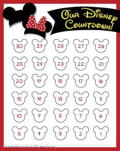 Countdown calendar, Calendar and Minnie mouse on Pinterest