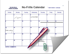 2016 Printable Calendar No Frills Free Big Box by Month