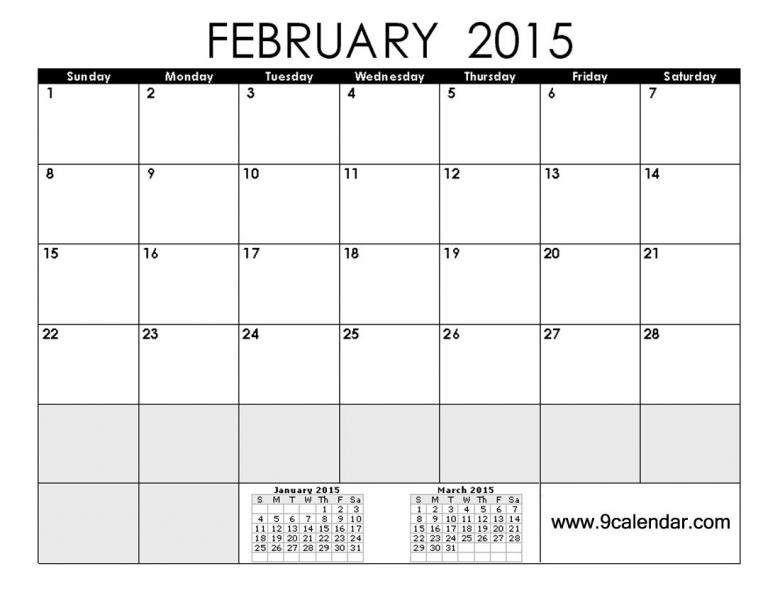 No Frills Calendar : Free Calendar Template