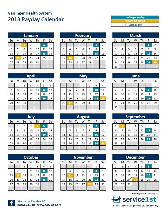 Government Payday Calendar 2016 | Blank Calendar Design 2016