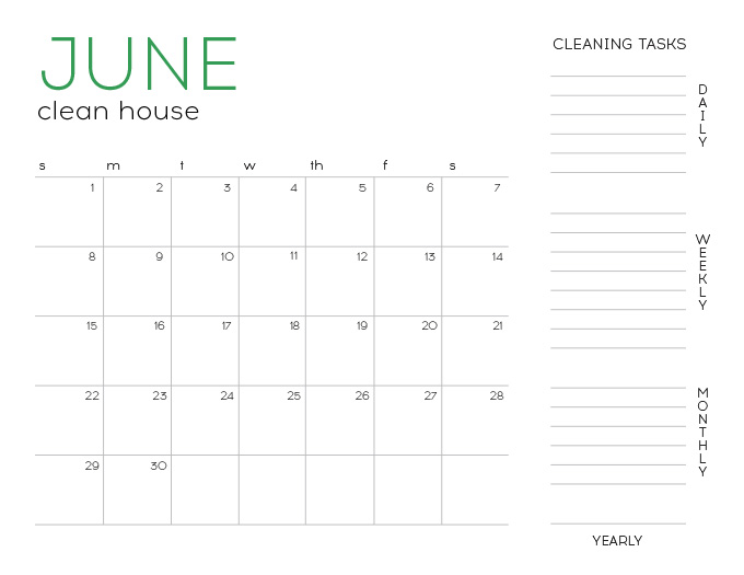 June Fillable Cleaning Calendar A Real Life Housewife
