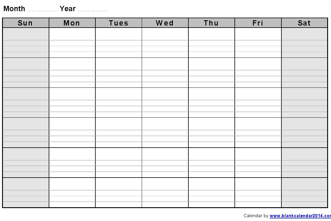 Monthly Calendar With Lines | monthly calendar printable