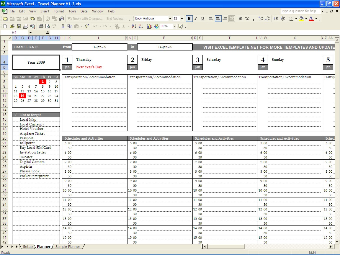 daily planner excel