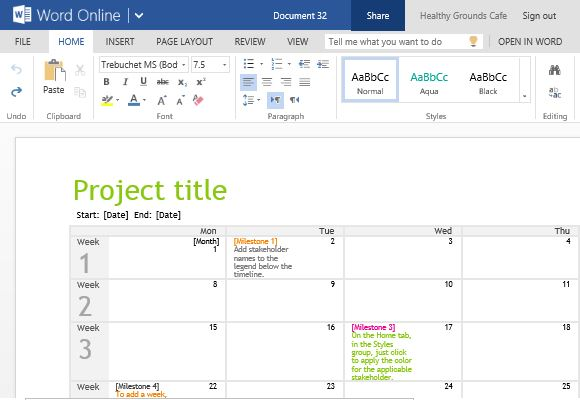 Project Planning Timeline Calendar For Word Online