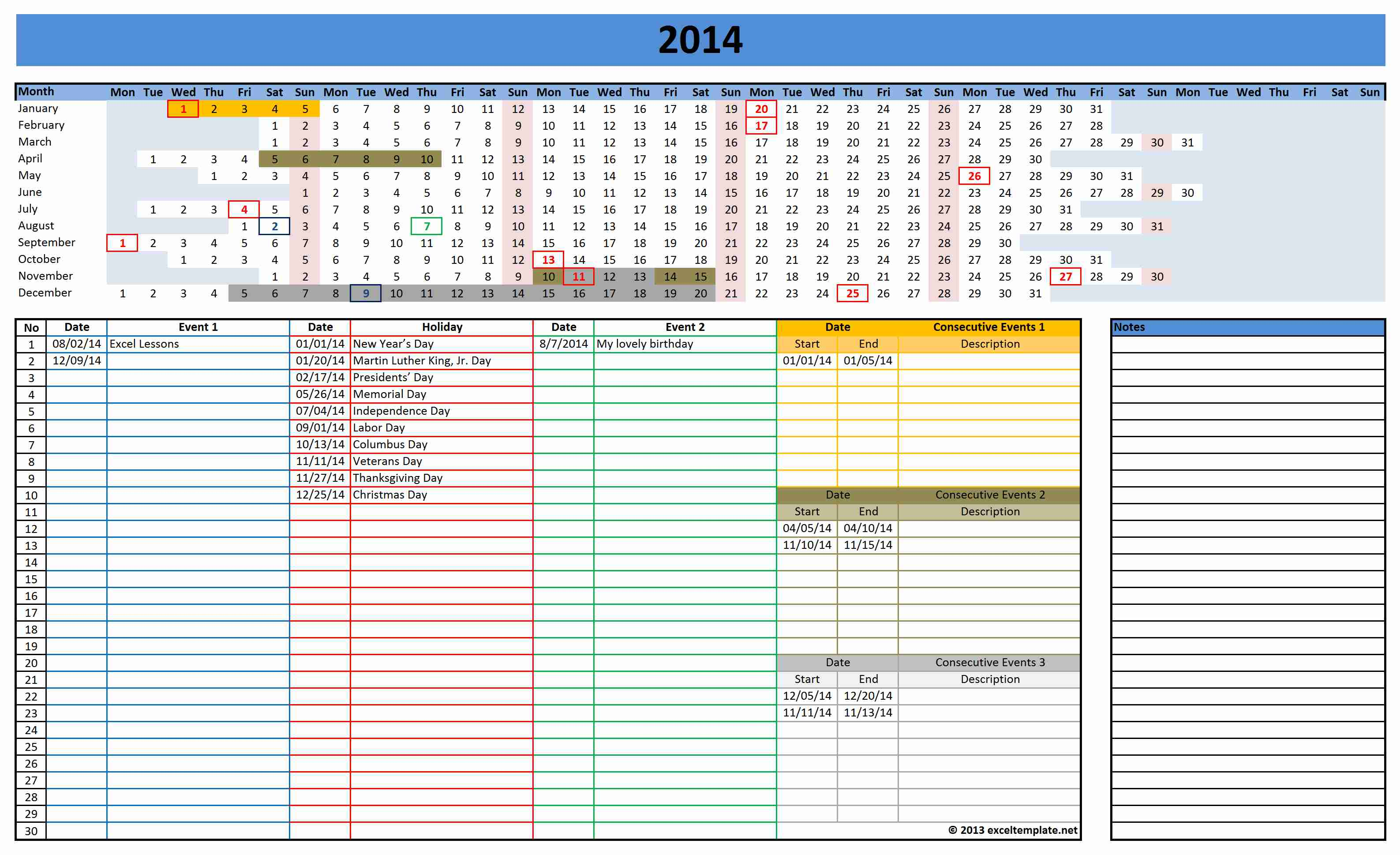 Excel Employee Vacation Tracking Calendar Template Excel