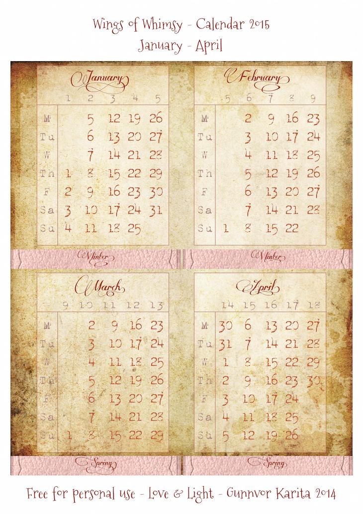 Calendar 2015 in Victorian Paper Frame – free printable | Wings of
