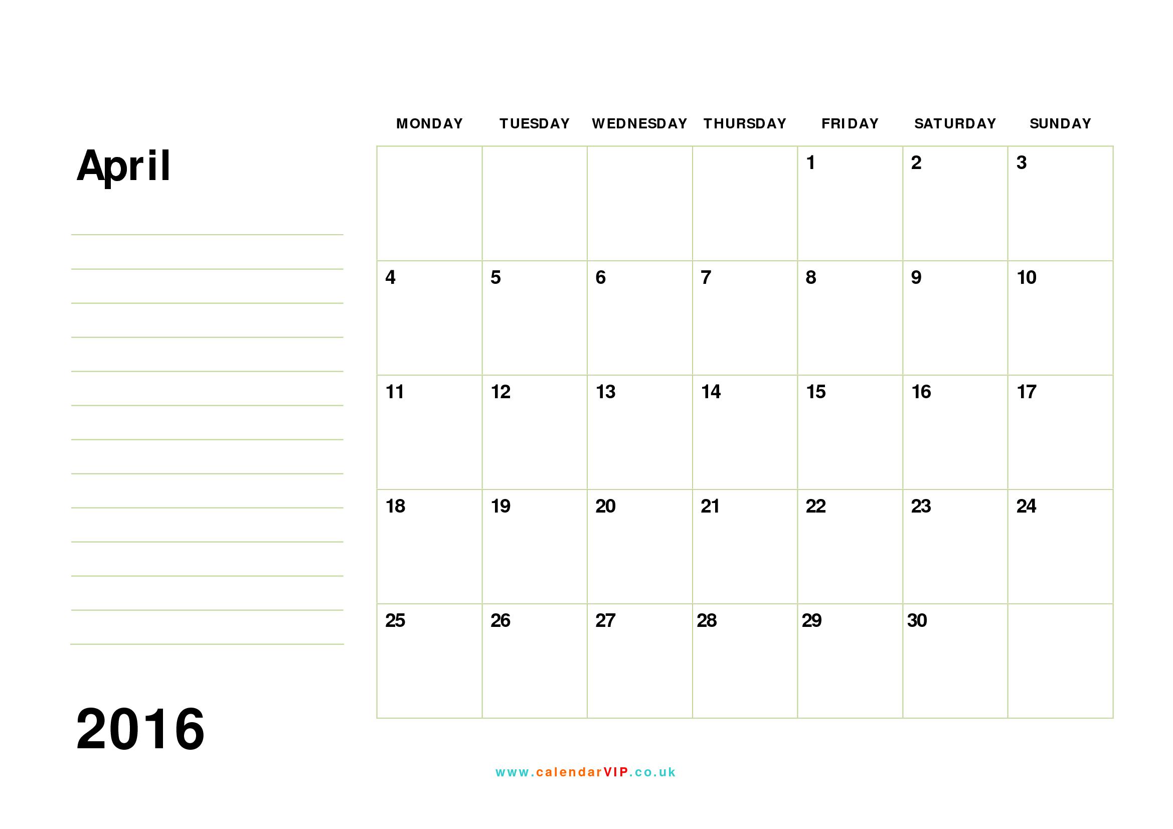 April 2016 Calendar Free Monthly Calendar Templates for UK