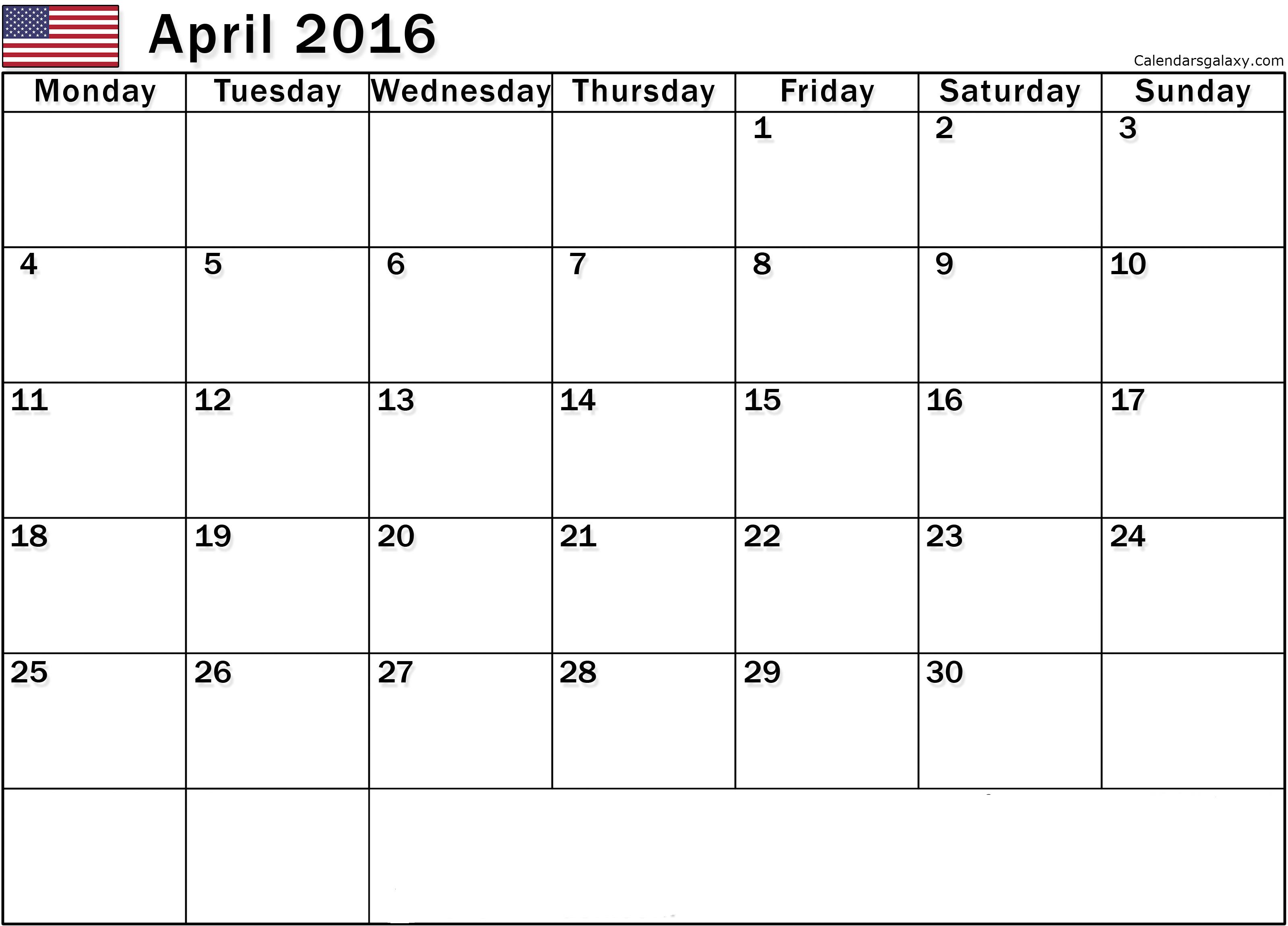 April 2016 Calendar Word Document
