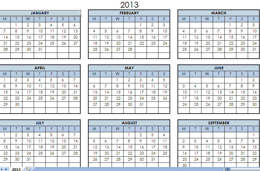2013 Printable One Page Calendar Yearly Excel Template | 2012