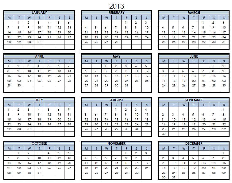 2013 Yearly Printable Calendar Calendar Template 2016,Printable