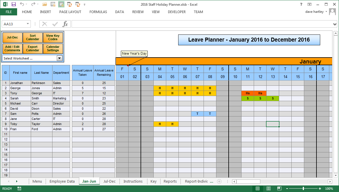 The Staff Leave Calendar. A simple Excel planner to manage staff