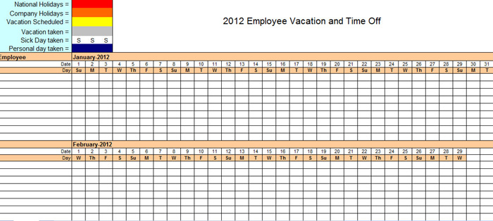 Staff Holiday Planner Excel Template 2016 – Excel Templates and