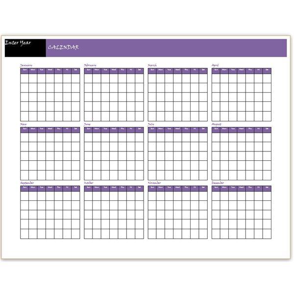 12 Month Calendar 2013 Landscape   Calendar Template Roster