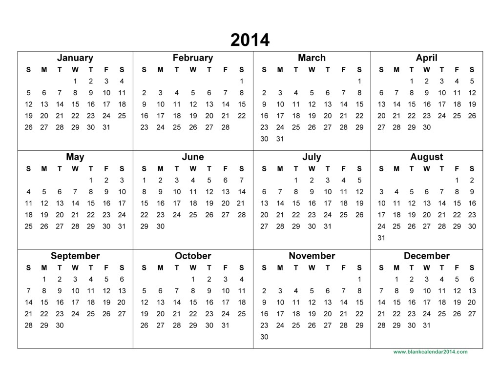 2014 Calendar Printable | yearly calendar template