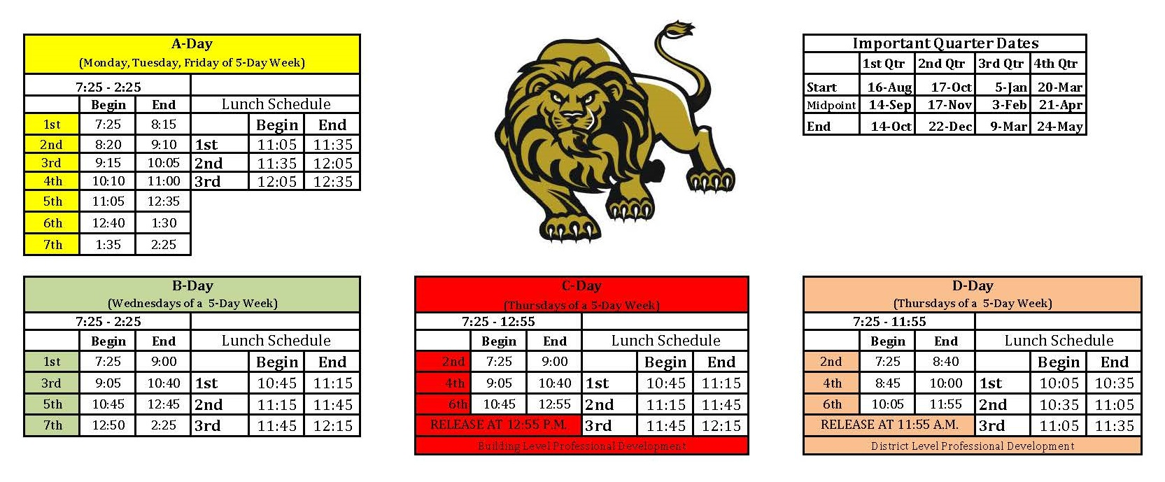 Building Calendar & Bell Schedule Fort Zumwalt East High