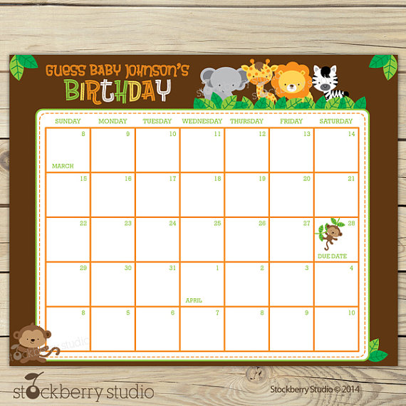 Safari Guess the Due Date Calendar Printable Birthday Prediction