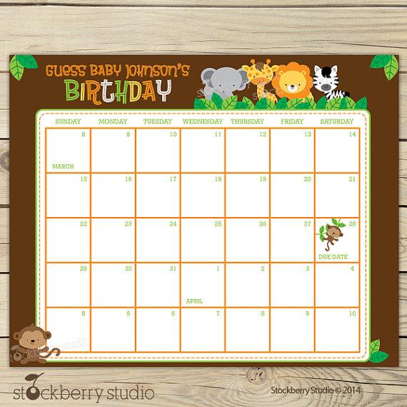 Safari Guess the Due Date Calendar Printable Birthday Prediction