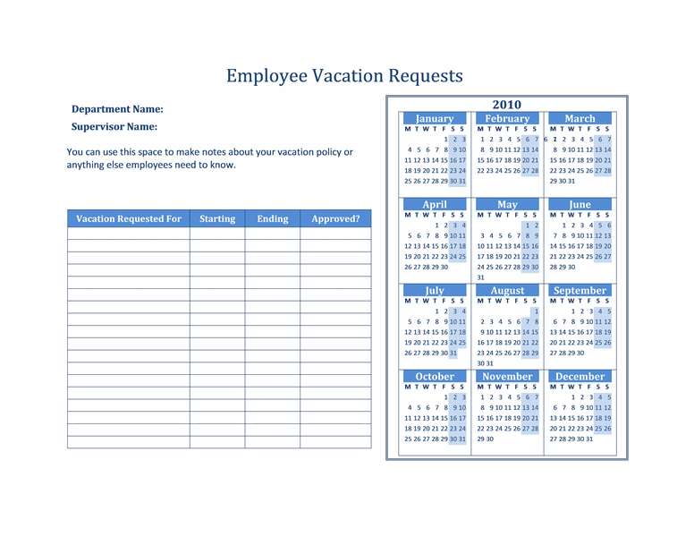 Free vacation request forms with calendar calendar for Request off calendar template