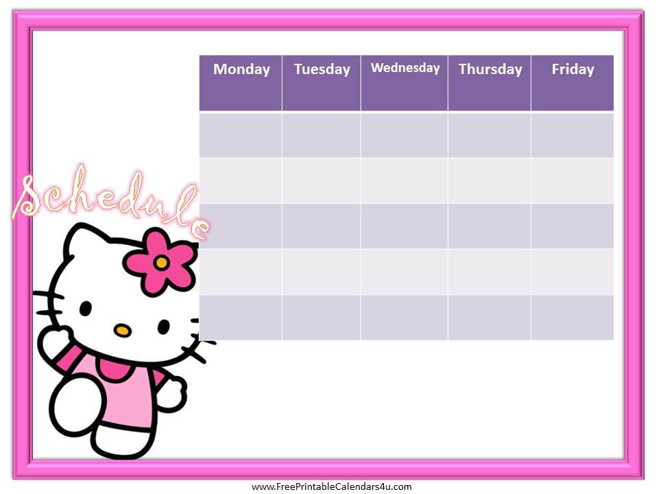 Hello Kitty Calendar Template | Calendar Template 2019