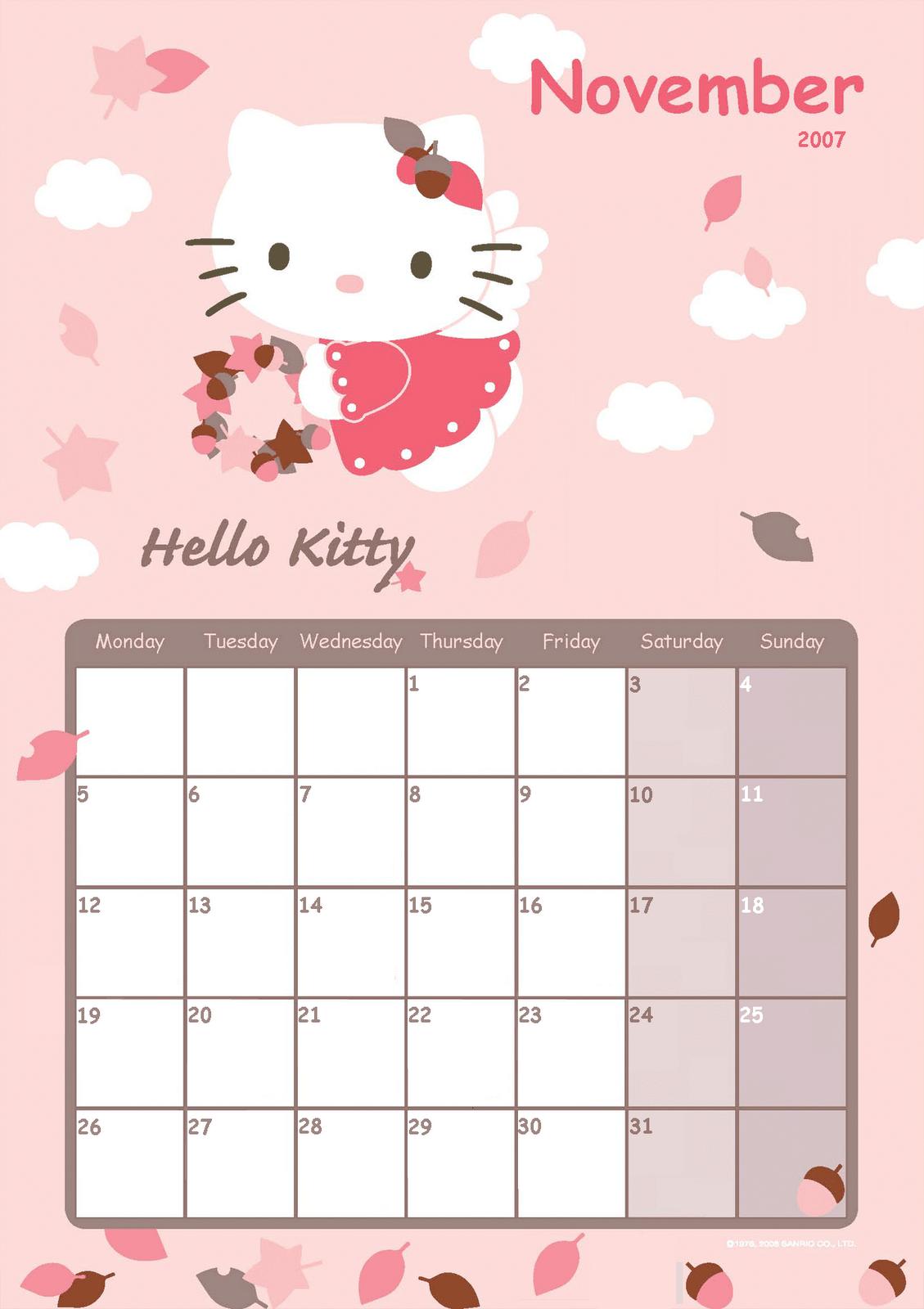 Hello Kitty Calendar Free Printable | Calendar Template