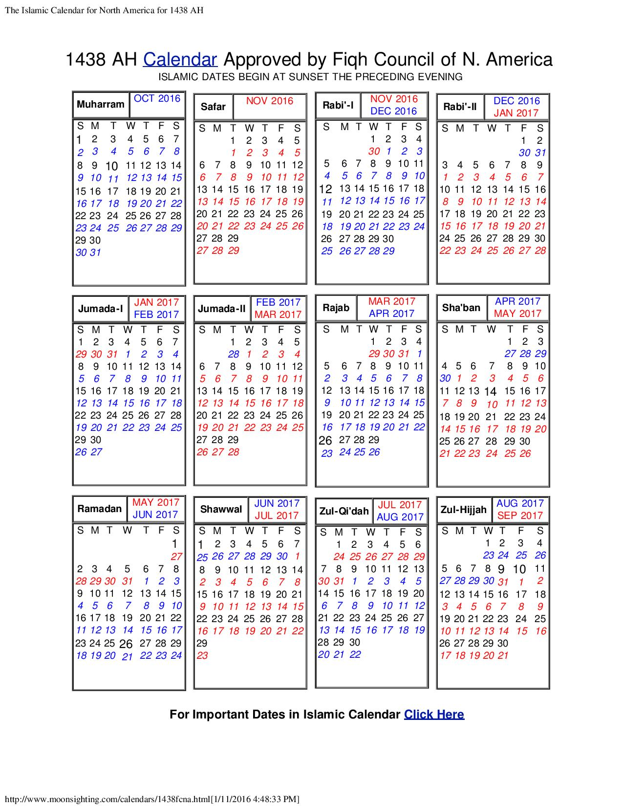 Islamic Calendar | ISGVF