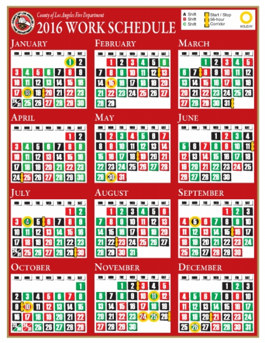 Lacofd Shift Calendar 2016 | Printable Calendar Template 2016