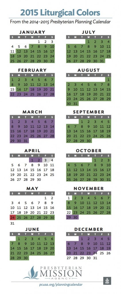 2015 Liturgical Colors Planning Calendar Independence