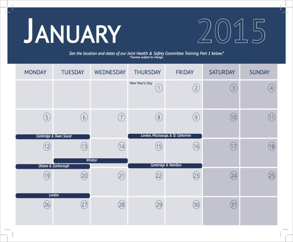Training Calendar Template – 25+ Free Word, PDF, PSD Documents