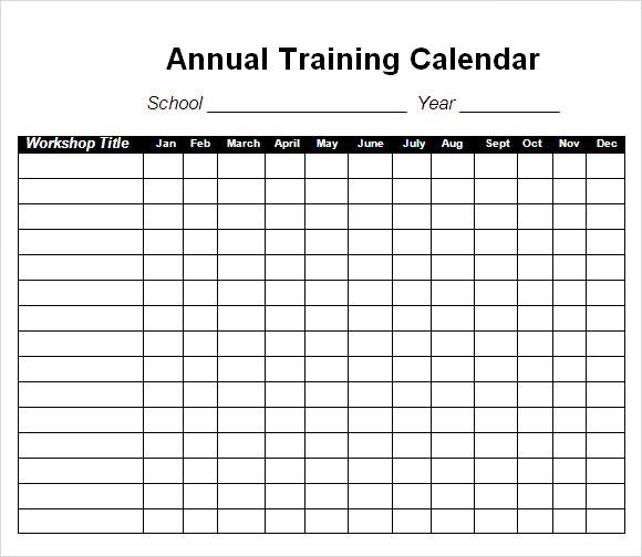 Training Calendar Template | printable calendar templates