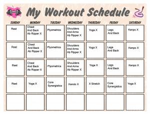 P90X Workout Schedule   Print A Workout Calendar