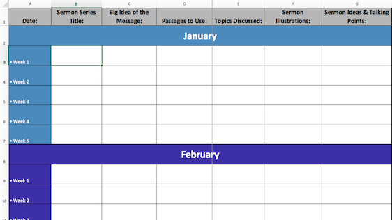 2017 Excel Sermon Calendar Template Ministry Pass™