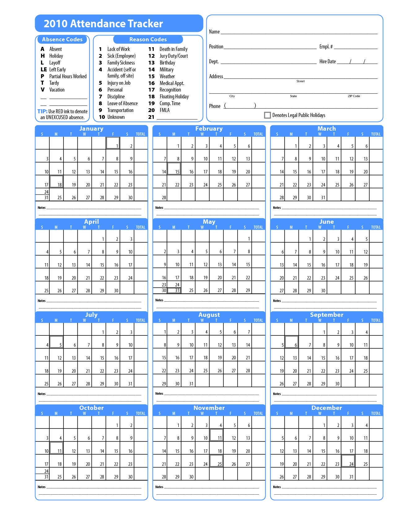 10 Best Images of Printable Employee Attendance Calendar Template