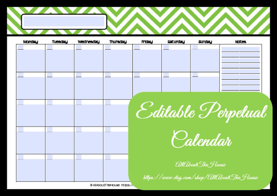 EDITABLE Printable Calendar Perpetual by AllAboutTheHouse on Etsy