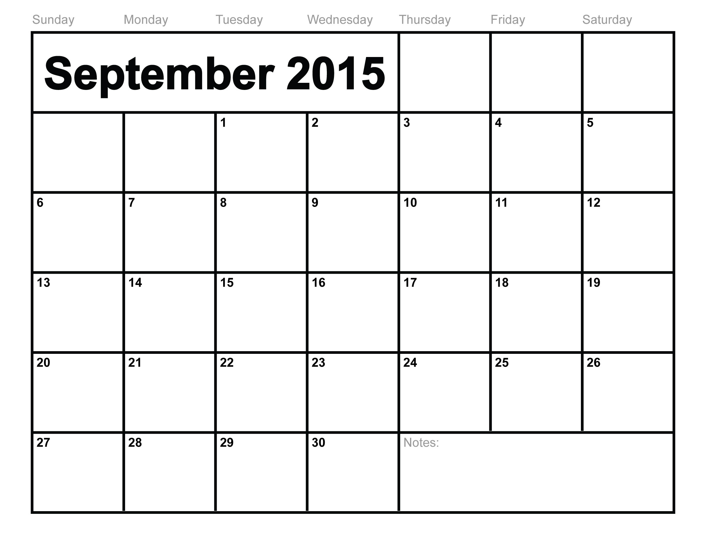 September 2015 Calendar Printable Template (8 Templates)