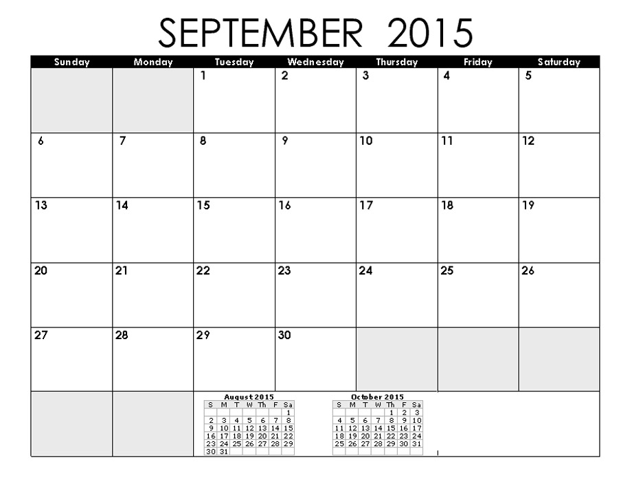 September 2015 Calendars For Word Excel Pdf,monthly calendar