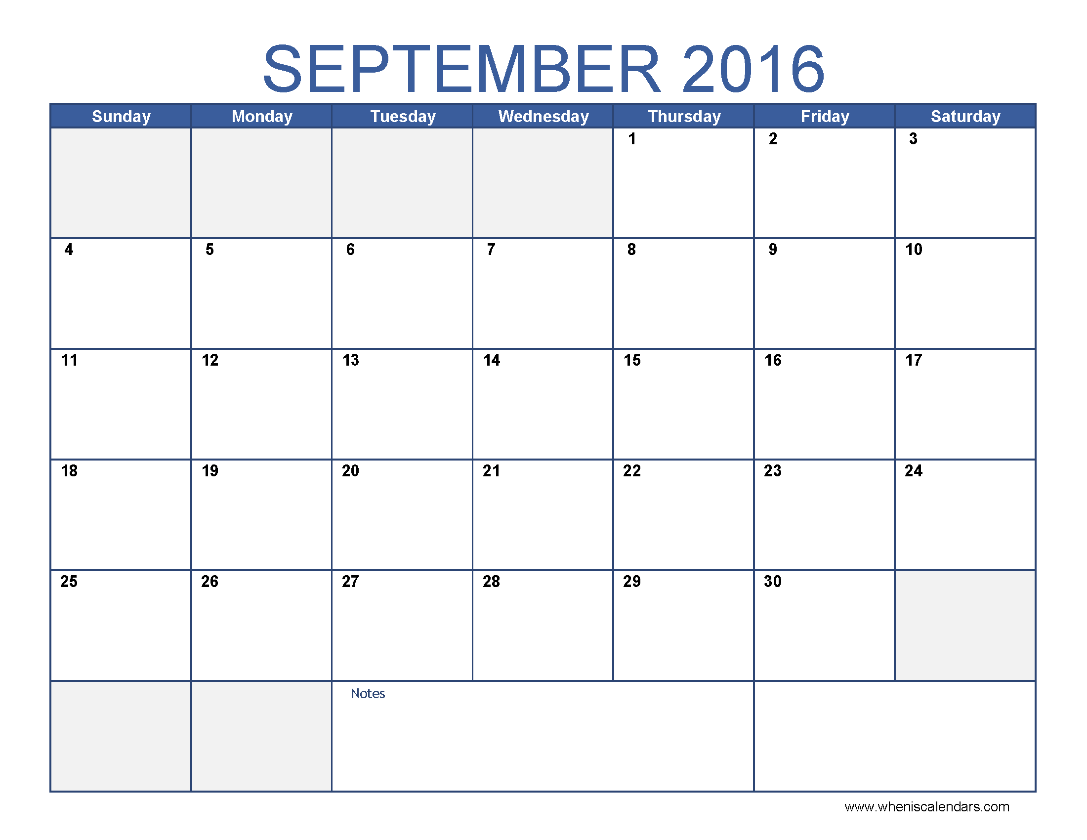 September 2016 Calendar Excel | monthly calendar printable