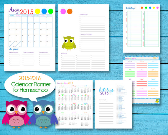 2016 Homeschool Teacher Planner Calendar by SplitDecisionz on Etsy