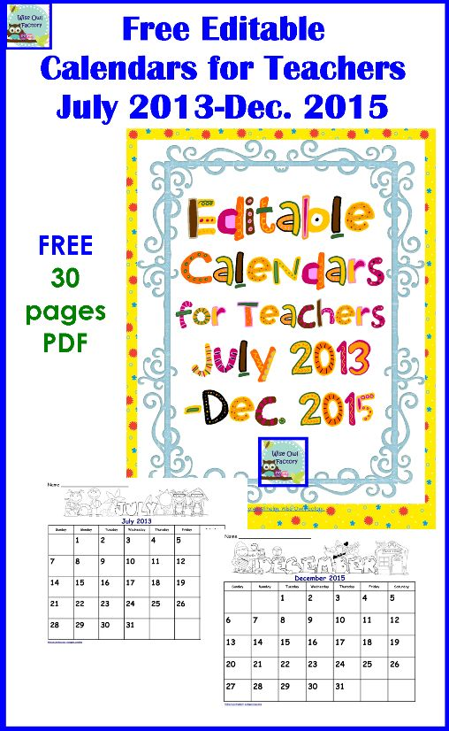 Free Editable Calendars by Carolyn from Wise Owl Factory at PreK +