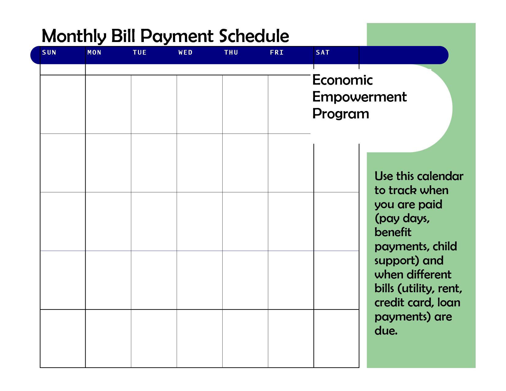 Calendar: Bill Pay Calendar Template