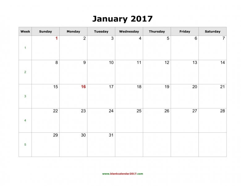 Free 2017 Calendars By Month You Can Write In | New Calendar 2016