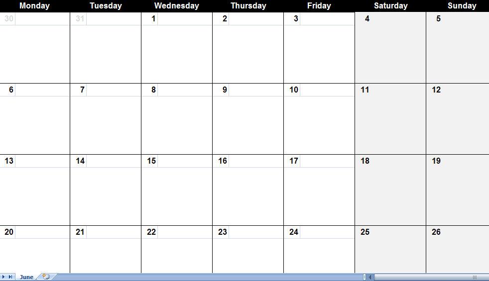 June Blank Calendar Template Blank | Print Blank Calendars