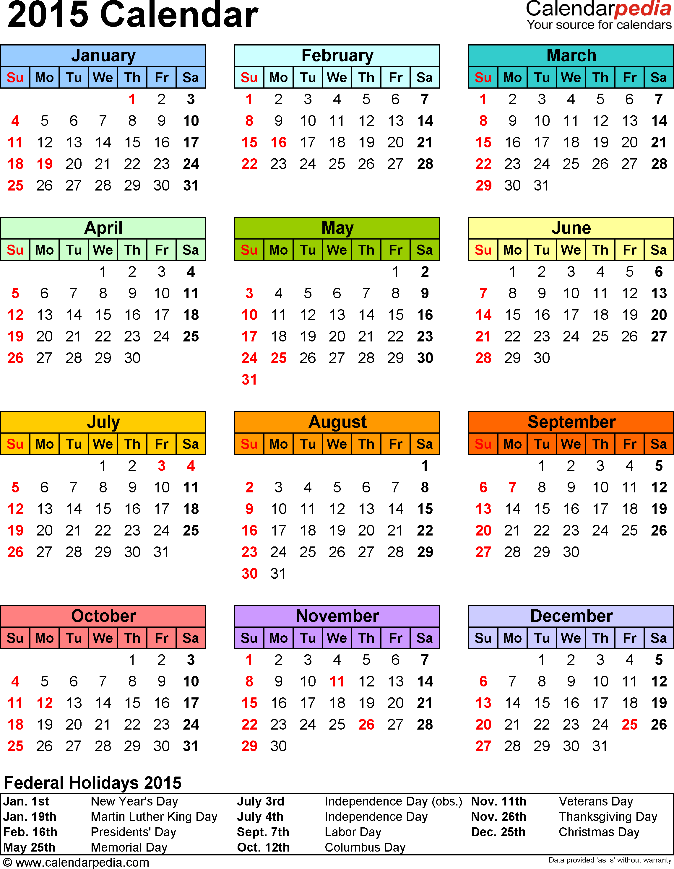 2015 Calendar Excel Download 16 free printable templates (.xls)