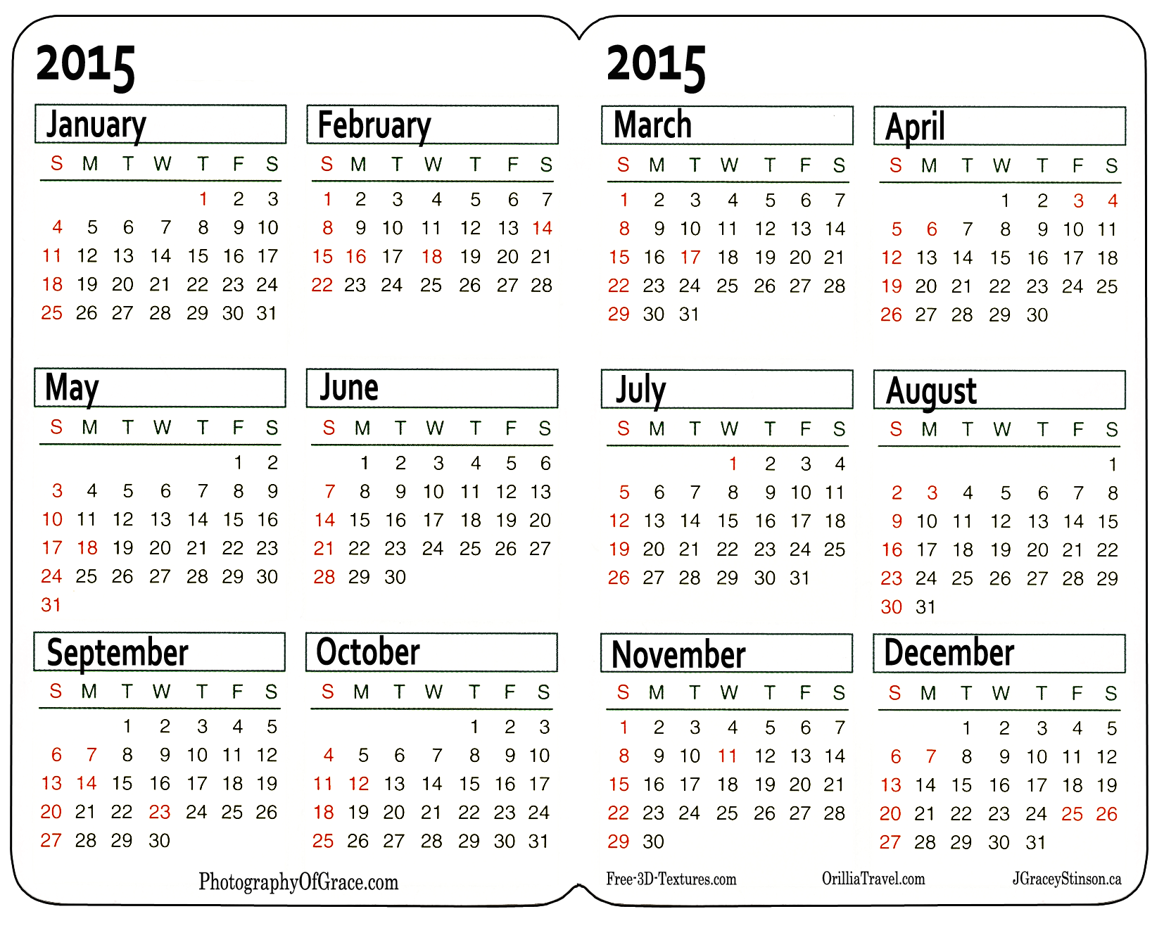 Calendar: Pocket Calendar Template