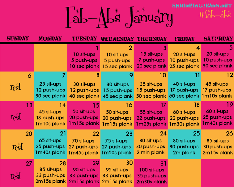 Fab Abs January, a monthly workout calendar