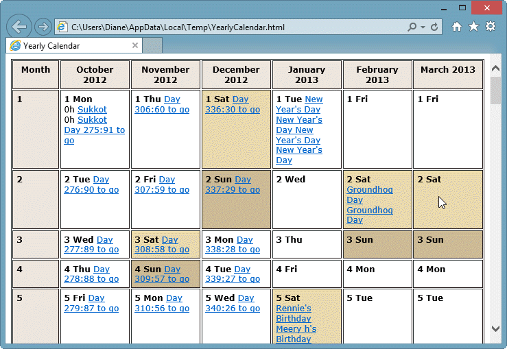 How to View a Yearly Calendar
