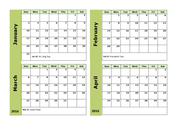 2016 Four Monthly Calendar Template Free Printable Templates