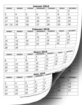 Printable 2016 Calendar Four Months Per Page