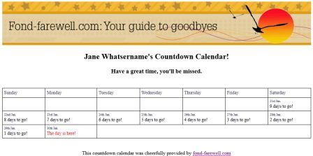 Make A Farewell/Retirement Countdown Calendar To Print Out